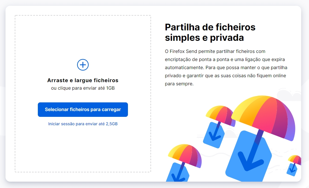 firefox send site