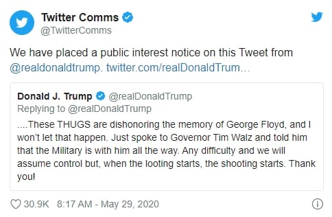 Twitter limitação mensagem donald Trump