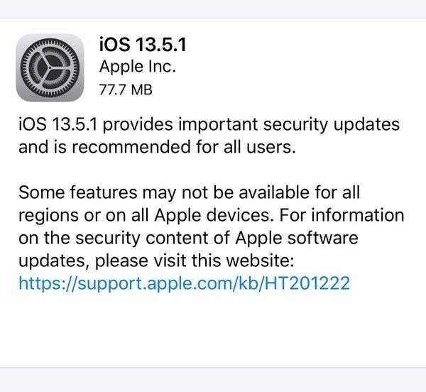 actualização Apple ios 13.5.1