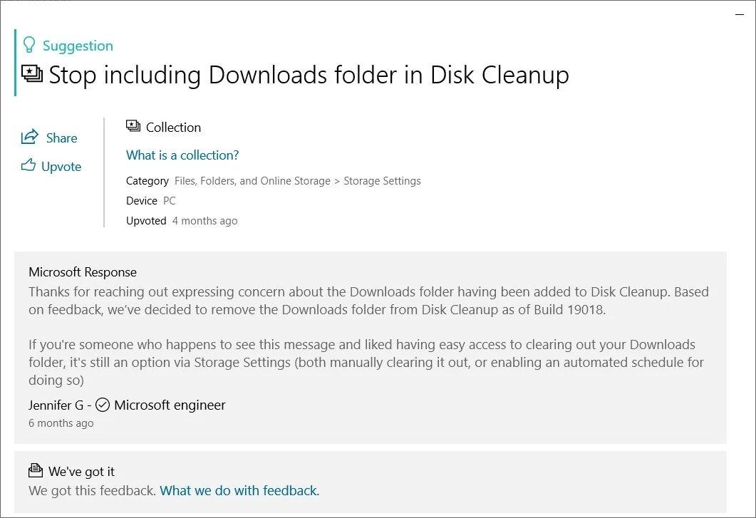 atualização do estado de limpeza do disco no Windows 10