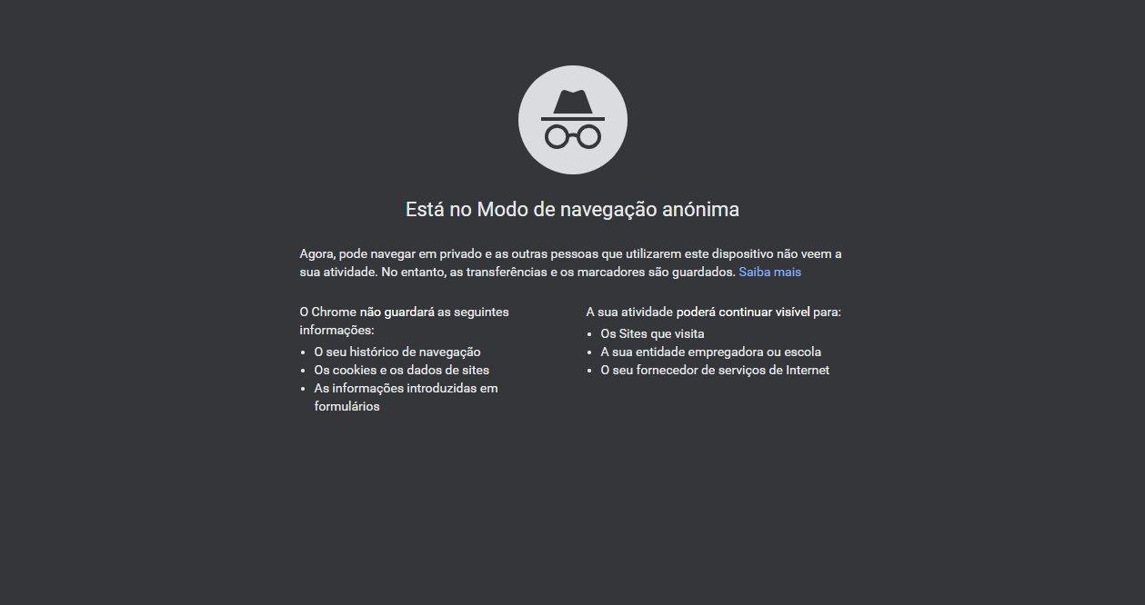 Google Chrome navegação anónima