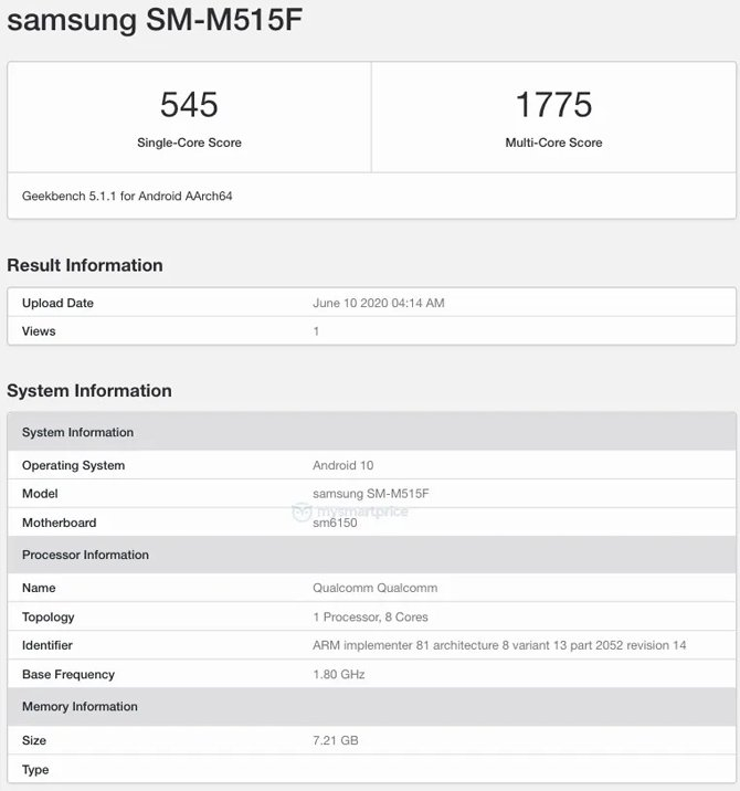 Samsung galaxy m51 teste benchmark