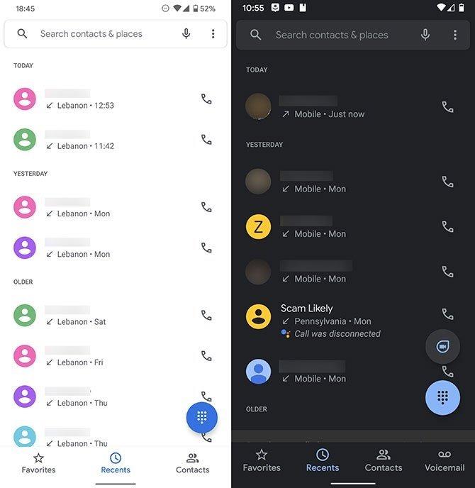 Google duo na aplicação de telefone da google