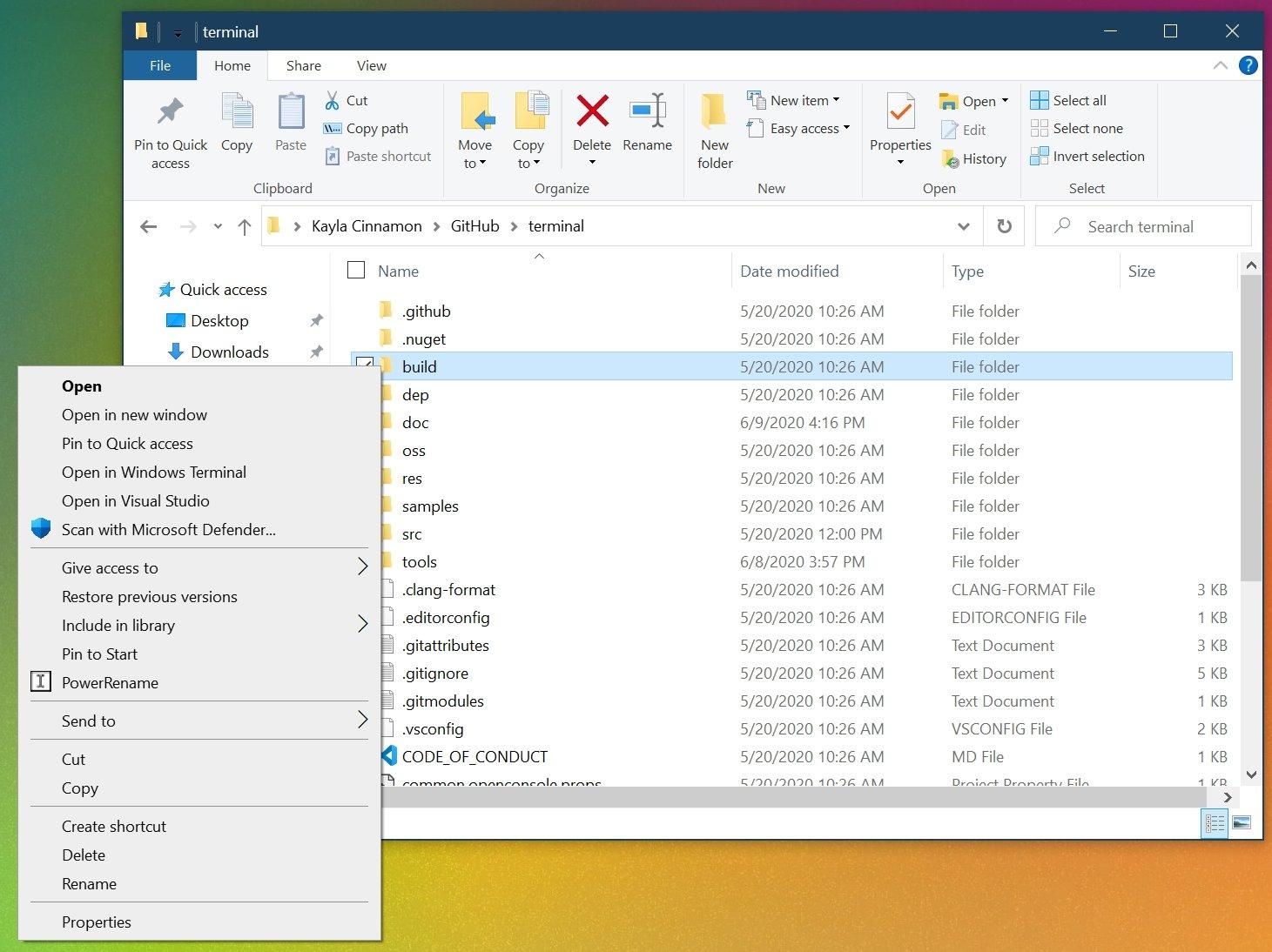 integração Windows 10 terminal