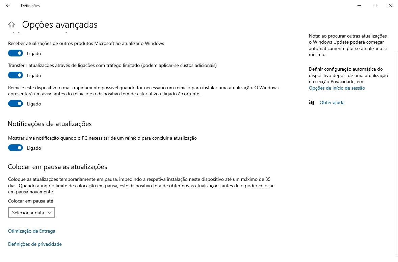 atualização do windows 10 definições