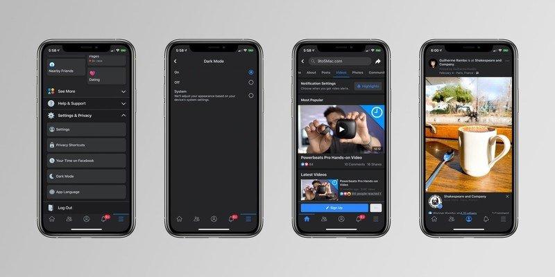 Facebook iOS modo escuro
