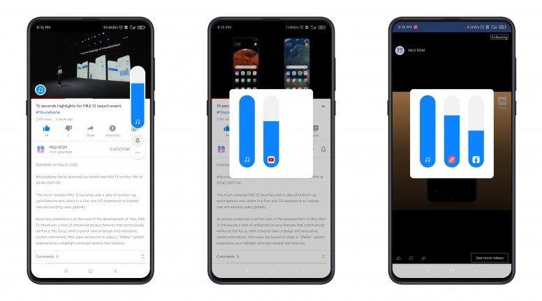 Controlo de volume MIUI por app