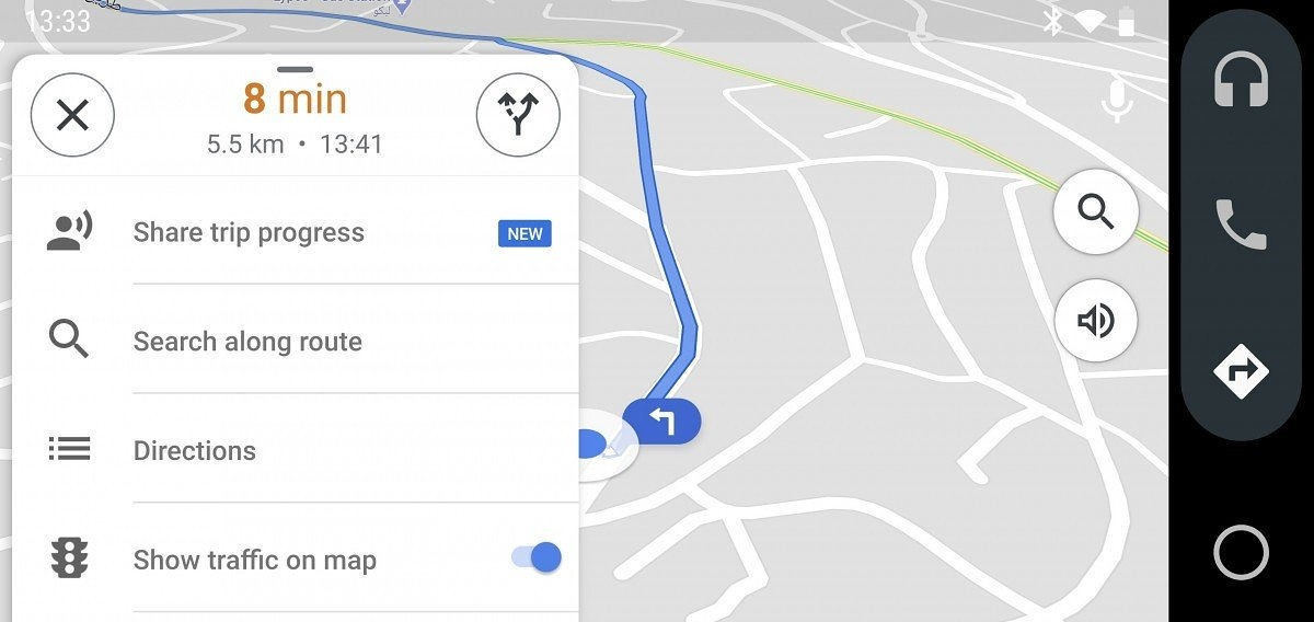 menu novo google maps