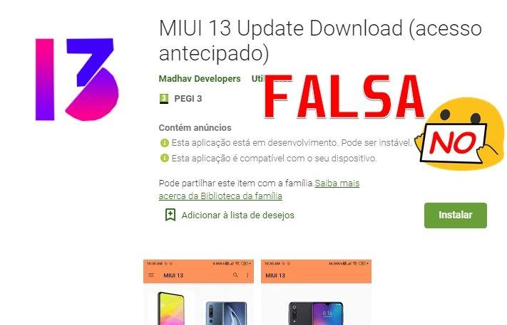 Aplicação falsa MIUI 13