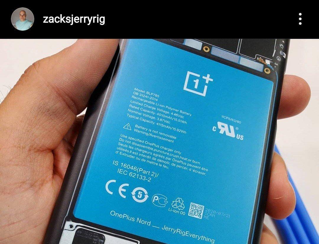imagem da bateria do OnePlus nord