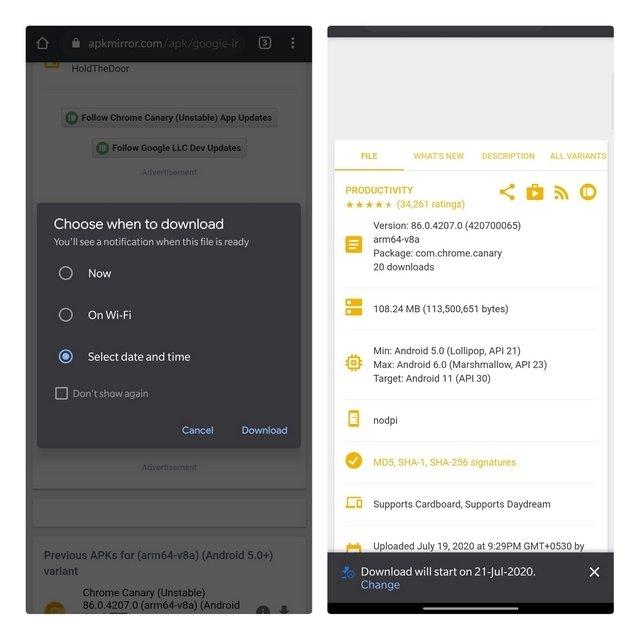 gestor de downloads do Chrome para Android
