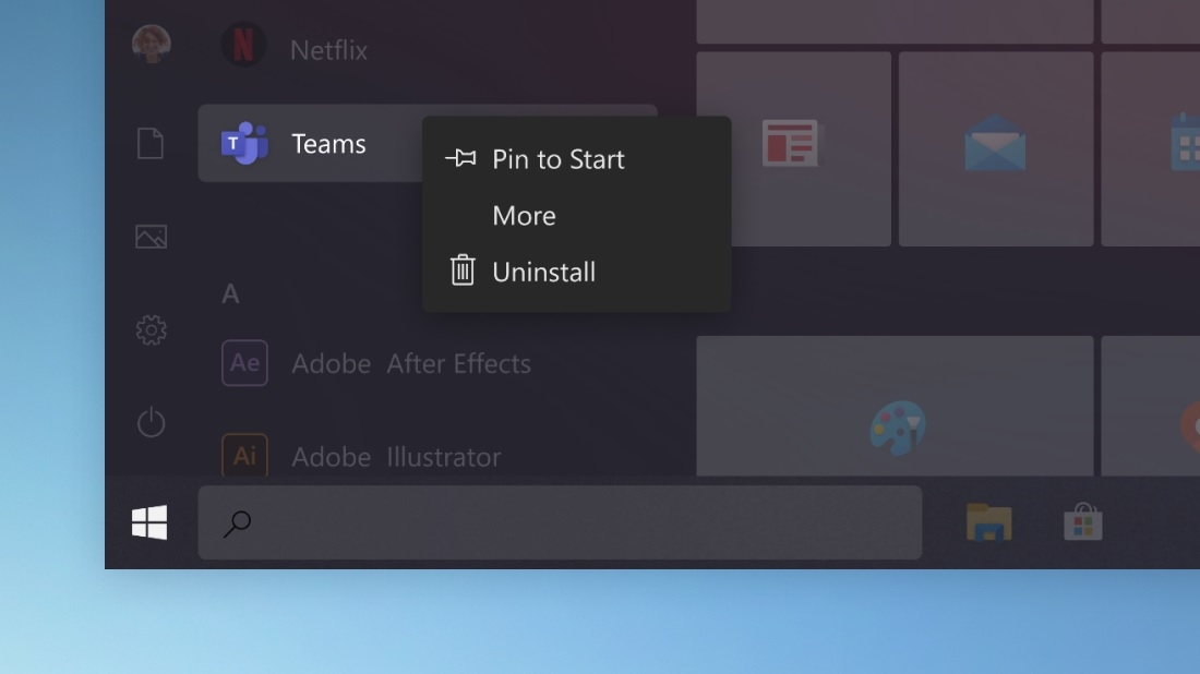 Windows 10 novo menu