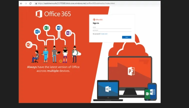 Ataque phishing site Office microsoft