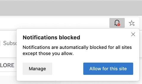 notificações bloqueadas edge