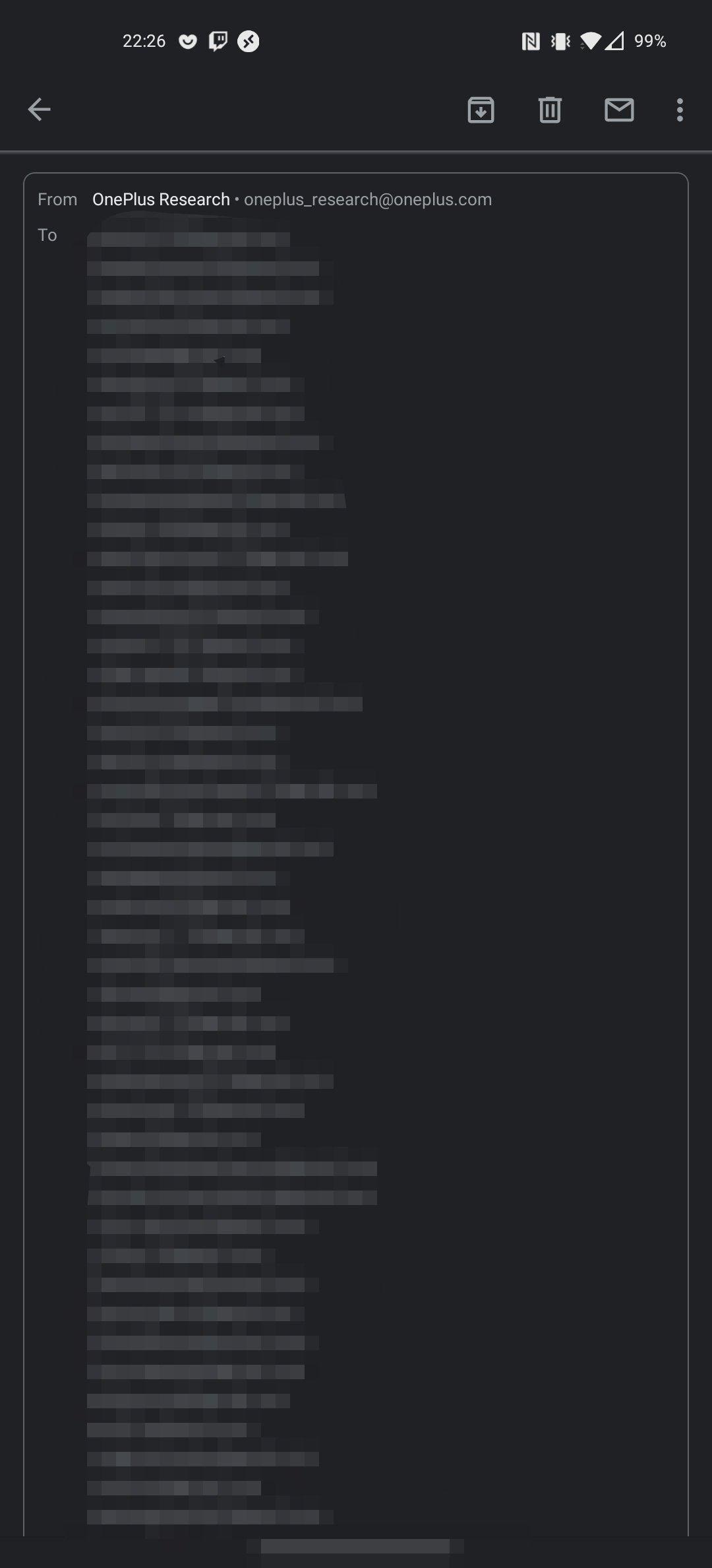 lista de emails da oneplus