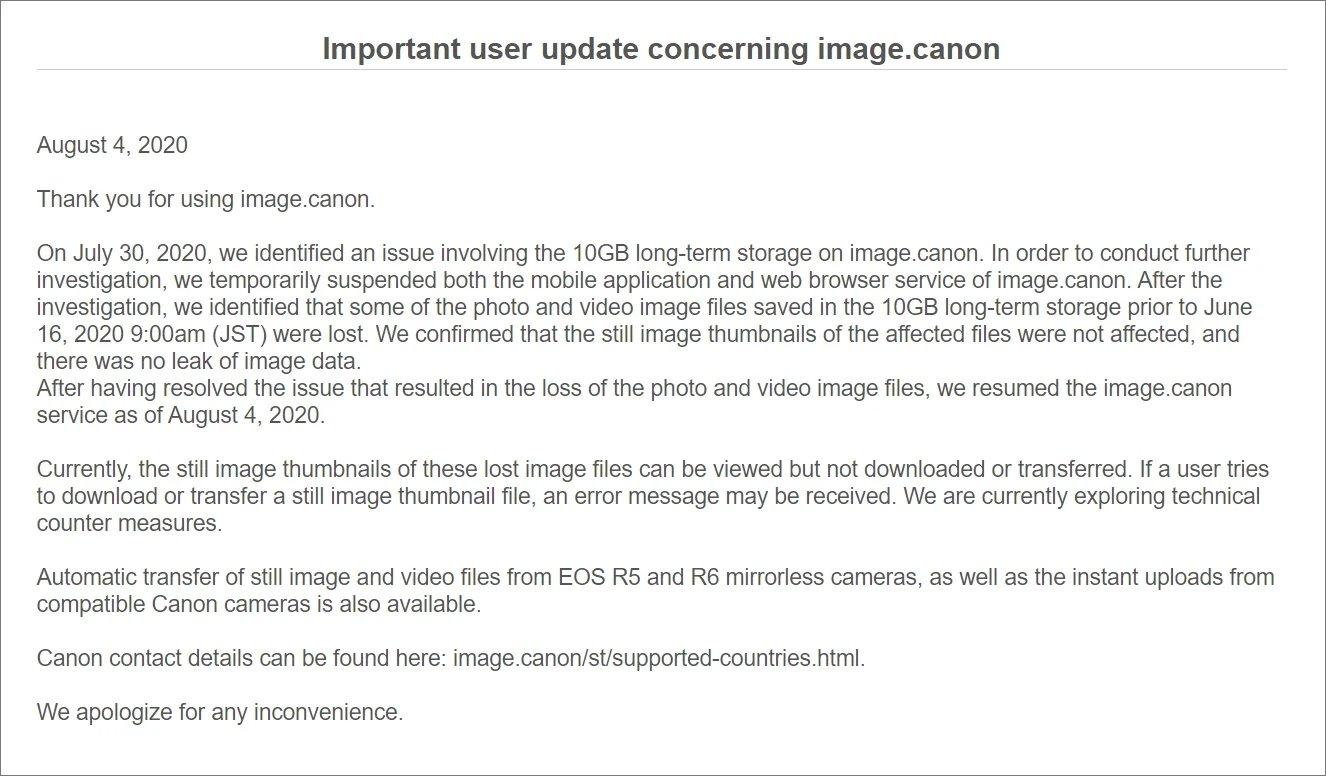 falha plataforma canon imagens perdidas