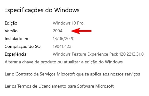 versão do windows 10