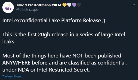 mensagem sobre leak da intel