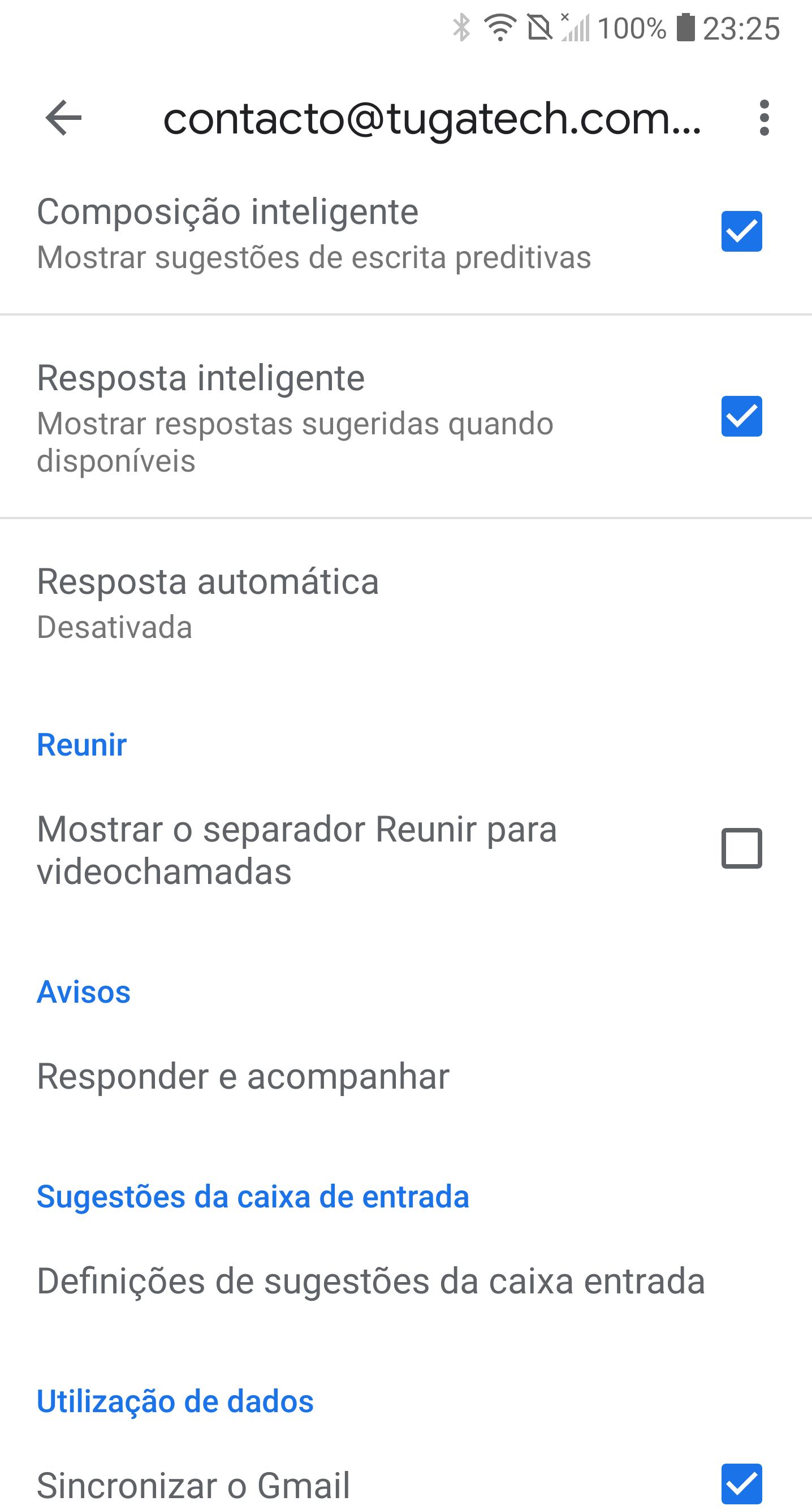 opções do gmail
