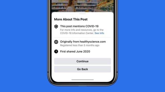 facebook alerta partilha covid