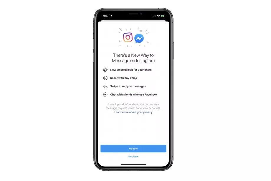 nova funcionalidade integração messenger instagram