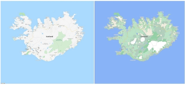 novo sistema de cores no Google maps