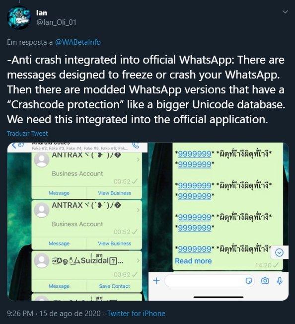 mensagens bomba whatsapp
