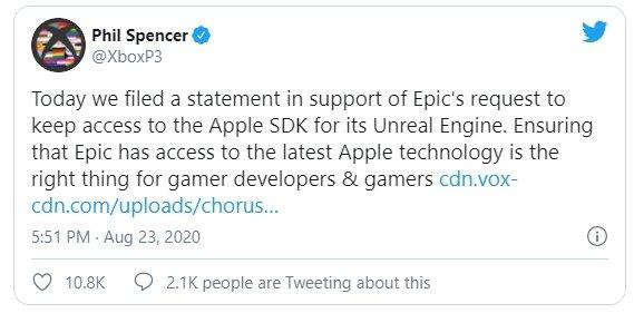 apoio da Microsoft à epic games