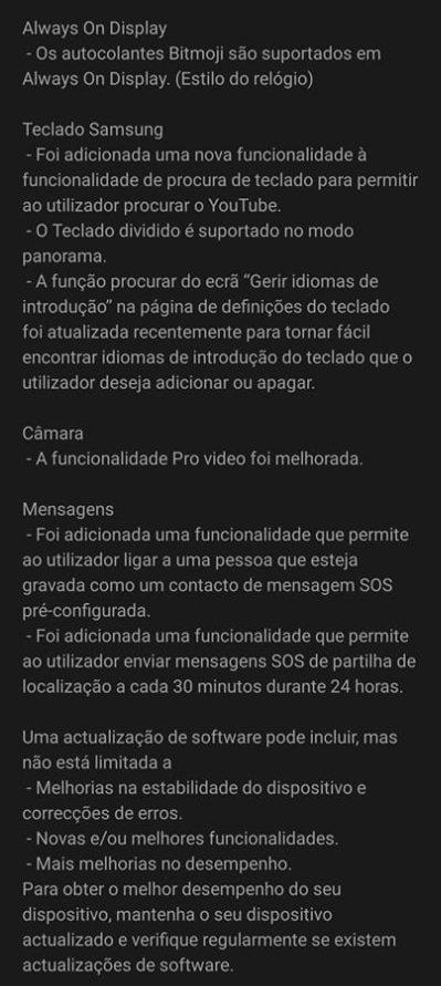 atualização one ui 2.5 portugal