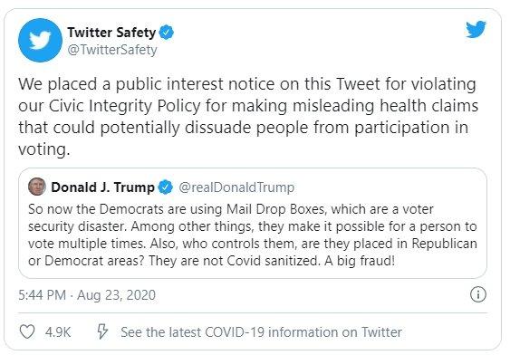 mensagem de trump marcada pelo twitter