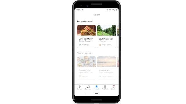 novas secções google maps