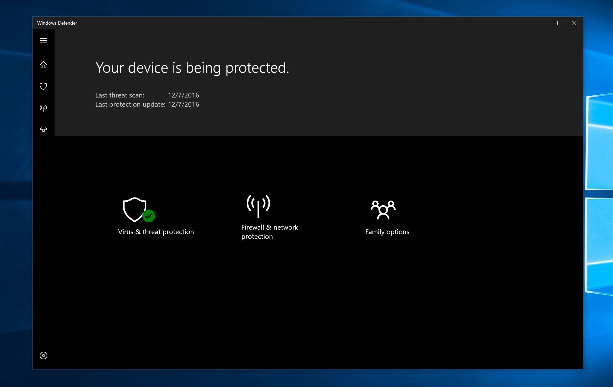 Windows defender definições