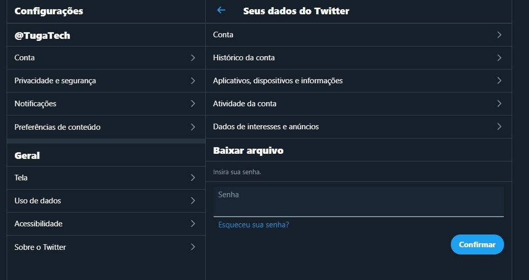 descarga de dados no Twitter