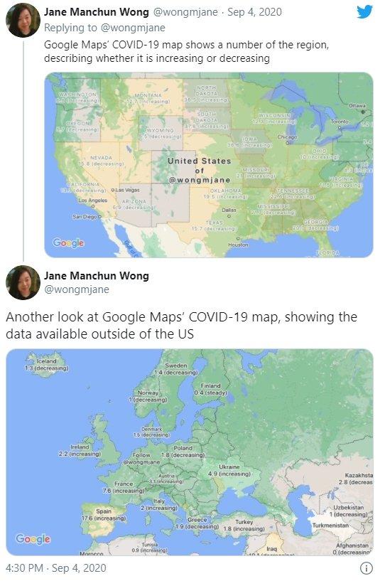 exemplo da funcionalidade google maps covid