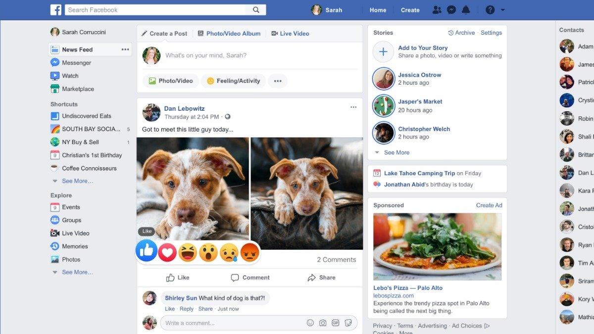 Facebook design anterior