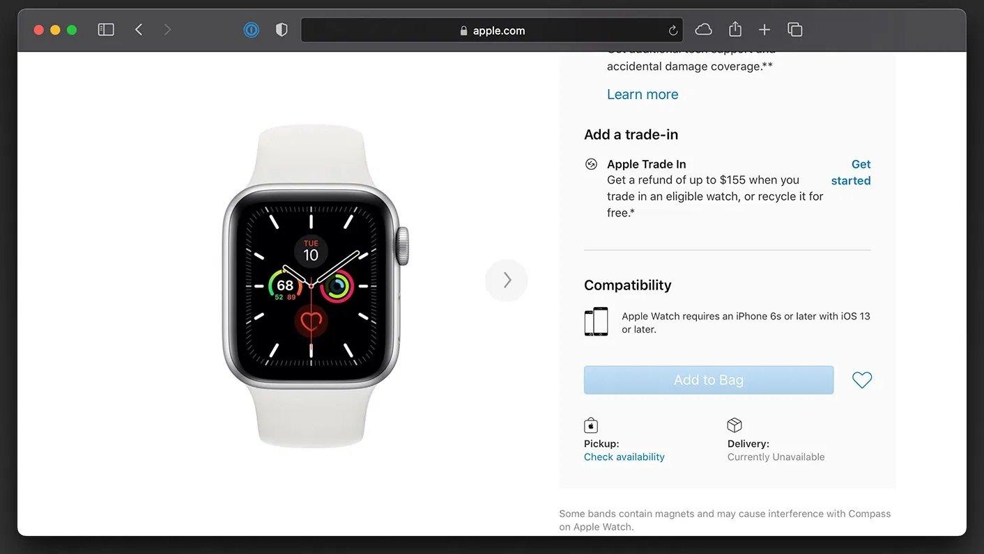 apple watch falta de stock