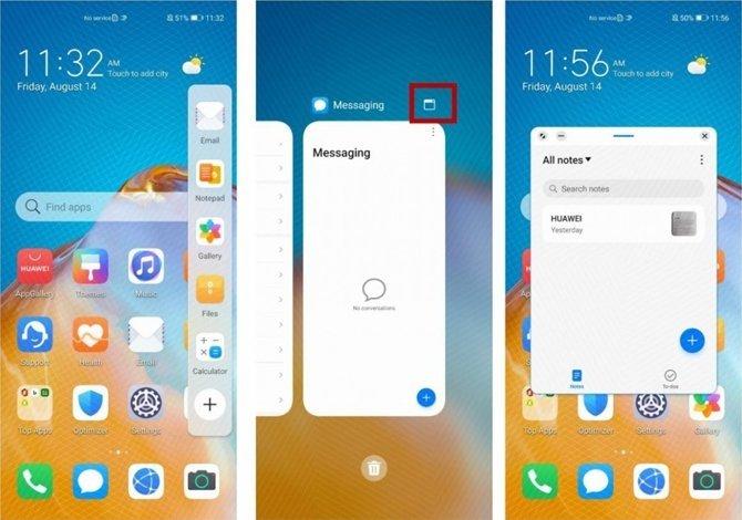 ecrã dividido apps EMUI