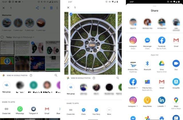 novo menu partilha google photos