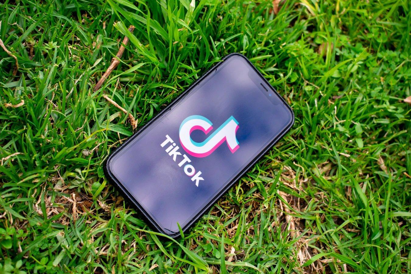 TikTok app em smartphone sobre a relva