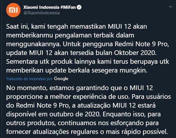 mensagem da xiaomi na indonesia