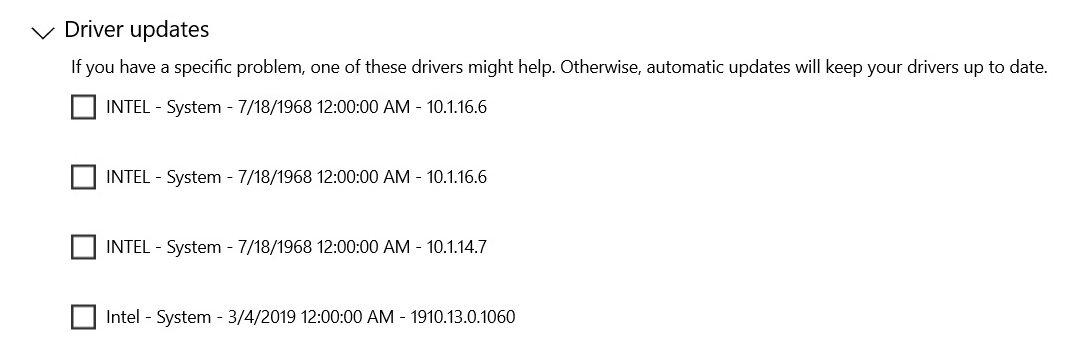 exemplo de drivers com datas antigas