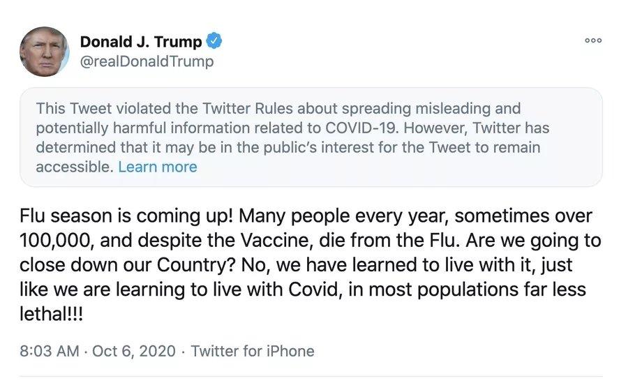mensagem de trump no twitter