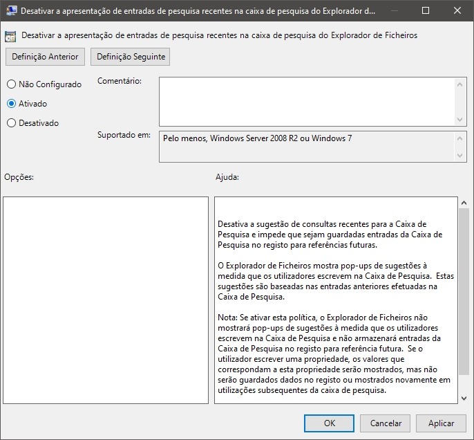 desativar pesquisa do Windows