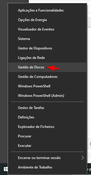 gestão de discos windows 10