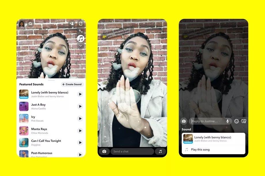 música no snapchat
