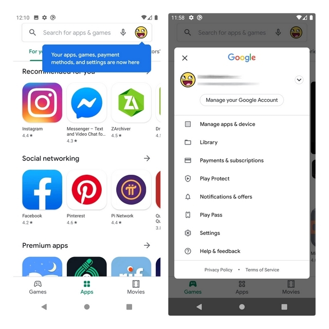 alteração do menu play Store da google