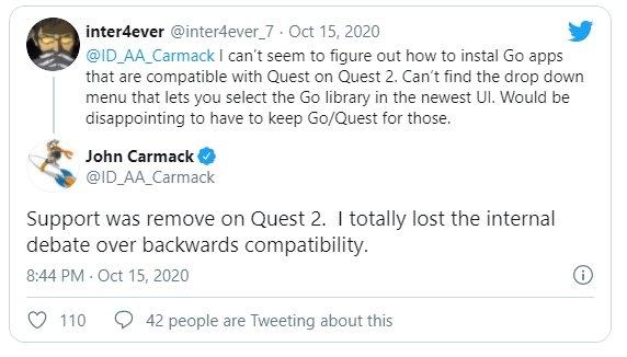 mensagem de resposta do CTO da Oculus