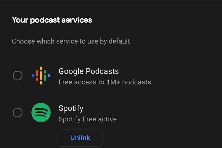 google assistente podcast selecionar