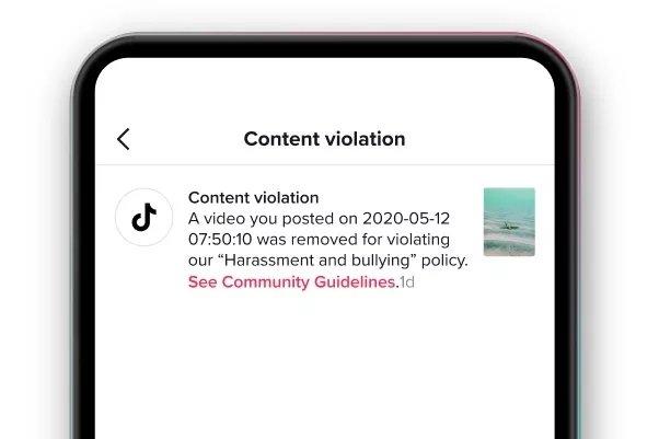 novo sistema de remoção de conteúdos tiktok