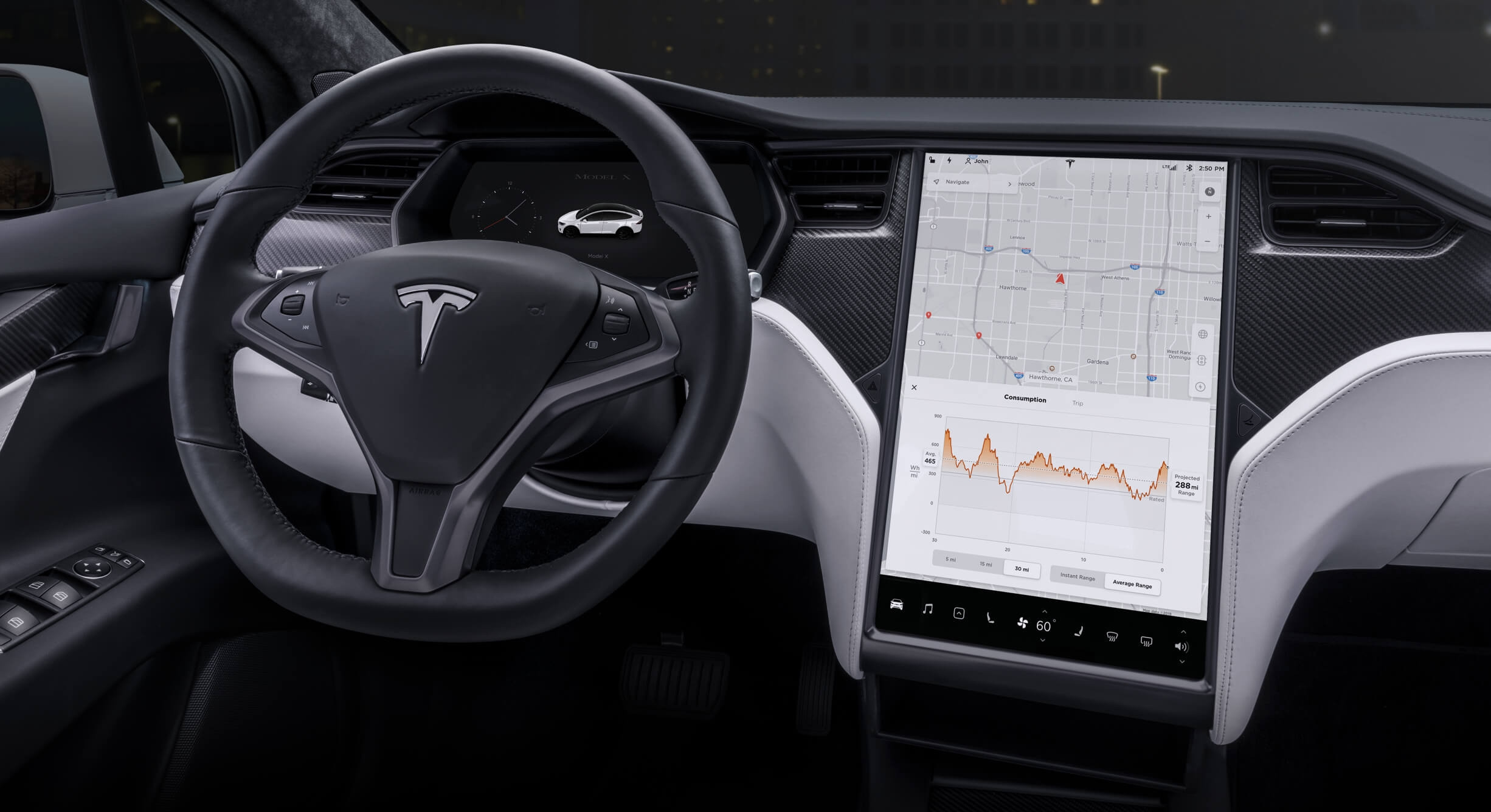 Tesla interior viatura